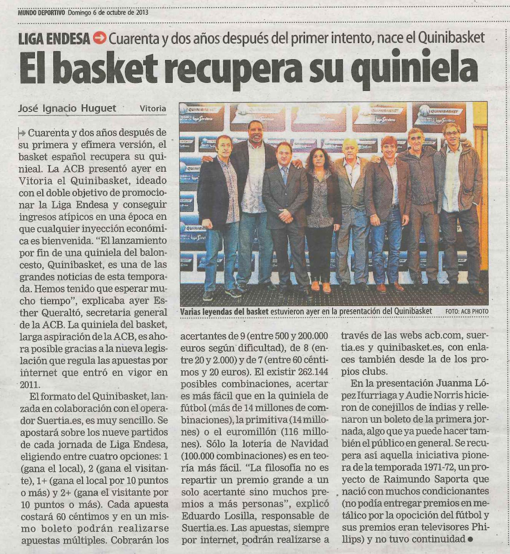 Quinibasket en el Mundo Deportivo