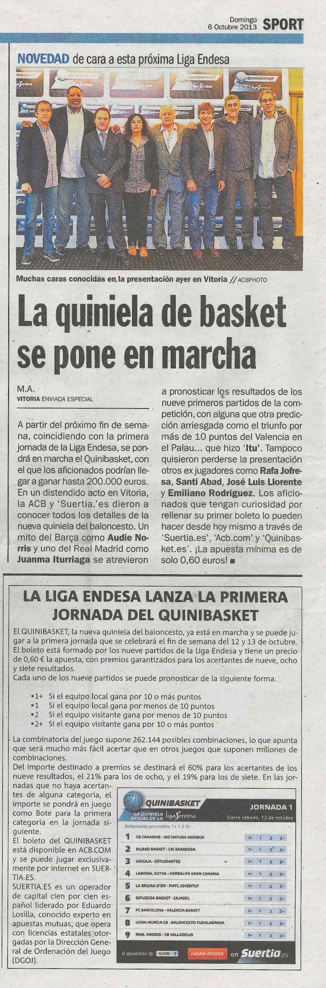 Quinibasket en el Diario Sport