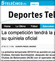 Quinibasket en Telecinco.es