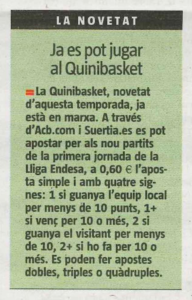 Quinibasket en La Vanguardia